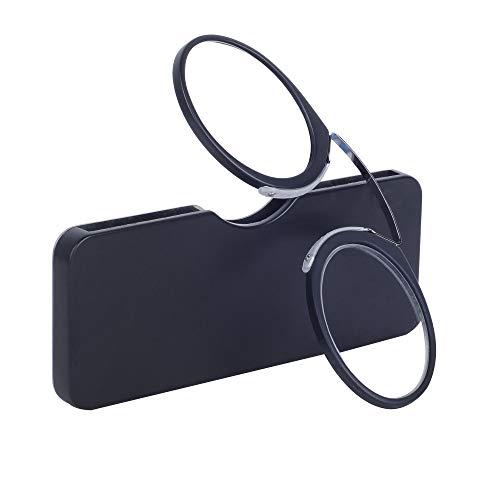 Gafas de Lectura Sin Patillas Negro +3.0(65-69 años) Hombre y Mujer Gafas de Bolsillo con Mini Estuche