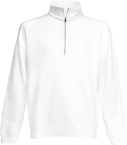 Fruit of the Loom: Zip Neck Sweat 62-114-0, Größe:M;Farbe:White