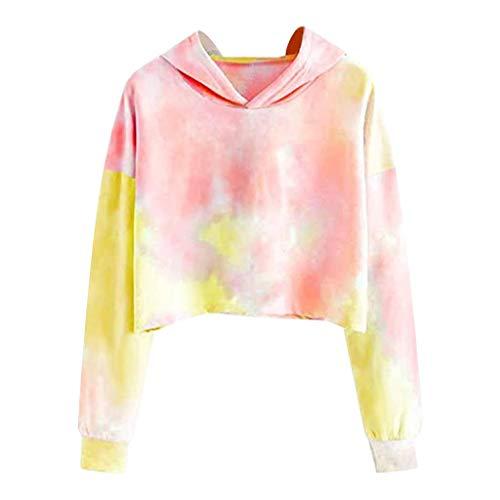 Lazzboy Store Hoodie Damen Tie Dye Kapuzenpullover Casual Langarmshirt Sweatshirt Tops Bluse Mit Taschen Langarm Tie-dye Print Pullover (S,Gelb)