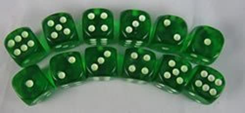 Grün Glow in the Dark Dots Standard Dice D6 16mm 12 Dice by Koplow Games by Koplow Games