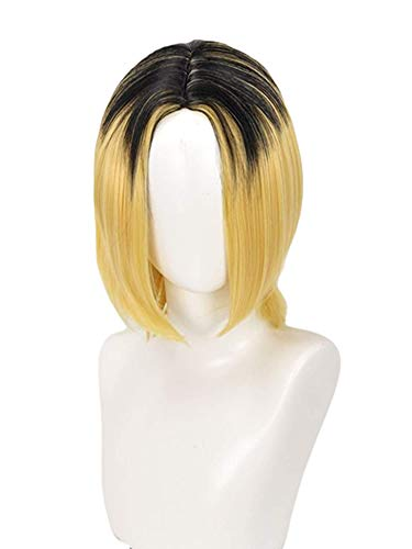 LeMarnia Kozume Kenma Wig for Cosplay Anime Haikyuu Costume Wig Golden Black Root Short Straight Hair Halloween Costume Wig