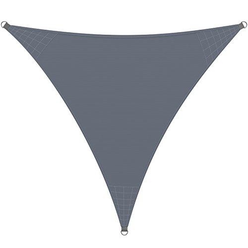 Detex Parasol Oxford Triangular 3x3x3m Antracita Vela Toldo Protección 50UV A Prueba de Viento y Agua