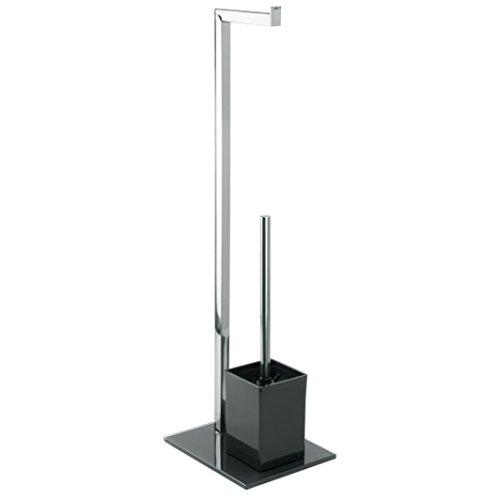 MSV Bad Serie Sydney Stand WC Garnitur aus Edelstahl und Glas mit herausnehmbaren Innenbehälter für die WC Bürste Schwarz