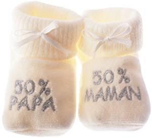 happy baby Chaussons bébé brodés 50% papa 50% maman beige/argent 0/3mois