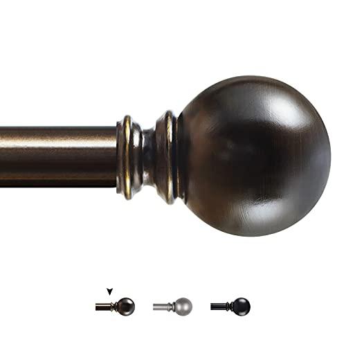 KAMANINA 1 Inch Curtain Rod 72-144 Inches, Round Finials, Bronze Drapery Rod