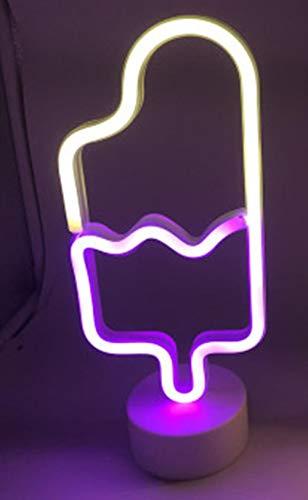 1 Stück LED Neonlicht Leuchtreklame Eis Nachtlichter TischlampeNeon GelbGebäck Display Holiday Shop Home Schlafzimmer Dekoration,Eis am Stiel