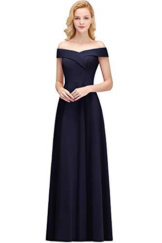 MisShow Damen elegant Schulterfei Ballkleider Abiballkleider Abschlusskleider Navyblau Gr.38
