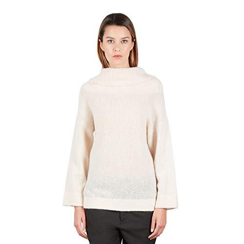 Brunella Gori Maglione Pullover Dolcevita in Alpaca con Collo Alto e Largo in Multivestibilità Color Crema Taglia S