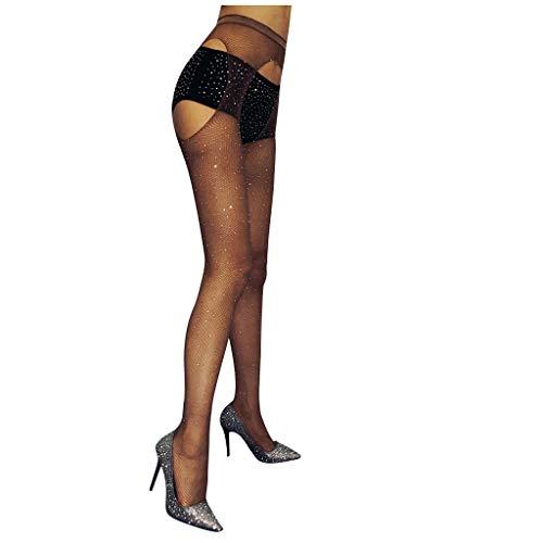 LoveLeiter Reizvolle Strapsen Strümpfe mit gürtel Damen Strass Strumpfhose Legs Verführerische Ouvert Sexy Spitze Schwarz Dessous Halterlose Netzstrümpfe Netzstrumpfhose