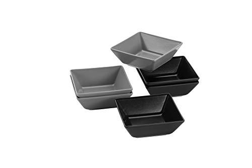 Mäser 931368 Schalen teilig, 3 rechteckige Grau und 3 Schüsseln in Schwarz, Porzellan-Geschirr Set für 6 Personen