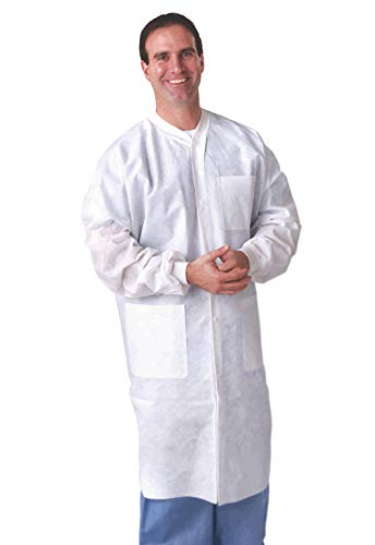 Lab Coats. Pack of 10 Anti-static and fluid resistant Coats for laboratories, medical settings. Protective coats with Long sleeves, knit collar, cuff and pockets. Full length lab coats. Medium size.