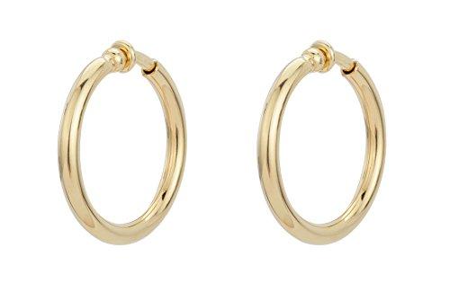 Traveller Orecchini a clip, a cerchio –Ø 33mm o 45mm e base metal, colore: Gold/33mm, cod. 155050