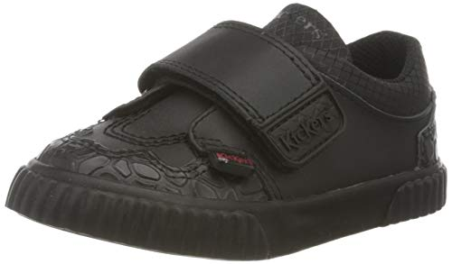 Kickers Tovni Twin Hook and Loop Black Leather, Zapatillas para Niños