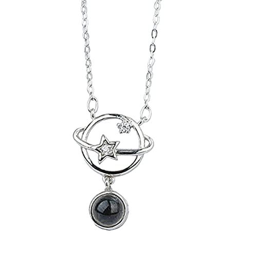 Foto personalizada I Love You Collar de proyección 100 idiomas Collar con forma de planeta Regalos románticos(Astilla - Foto - Blanco y negro)