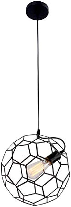 Rishx 30 cm Kreative Fuball Design Esszimmer Pendelleuchte Moderne Metall Hohldecke Hngelampe Innendekorationen Restaurant Droplight, Schwarz