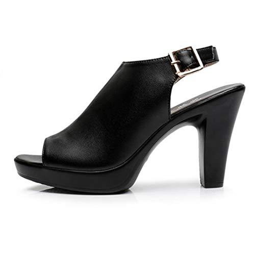 Sandalias con Plataforma De Punta Abierta para Mujer Correa De Espalda De Verano Zapatos De Tacón Grueso Color Sólido Slingback Elegante Oficina Punta Abierta Tacones Altos