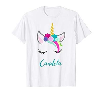 T-Shirt Personalizada Nombre Candela Unicornio Camiseta