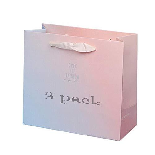 Miyabitors 3 Stück Rosa Papiertüte, Rosa Papier Geschenktüte Mit Griff, Einkaufstasche, Packpapierkasten, Kreative Geschenktüte (30x12x27cm)