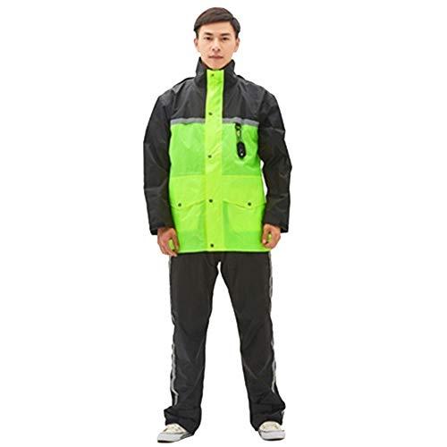Insun Adultes Vêtements de Pluie Vestes Anti-Pluie à Capuche et Pantalons de Pluie avec Bandes Réfléchissantes Haute Visibilité Vert-Noir XS