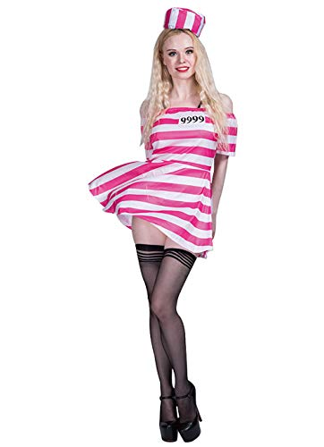 Chendong Fashion Store Sexy Gevangene Kostuums voor Vrouwen - Halloween Sexy Volwassen Roze Wit Gestreepte Gevangenis Jurk Kostuum