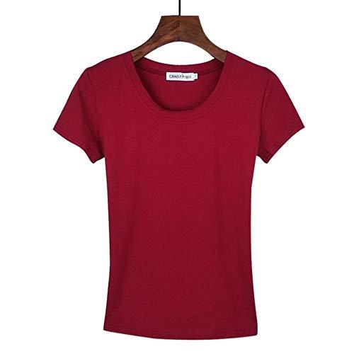 MU-PPX Camiseta De Mujer Camisetas De Manga Corta Camisetas De Algodón para Mujer Ropa Sólido O-Cuello, Rojo Vino, L