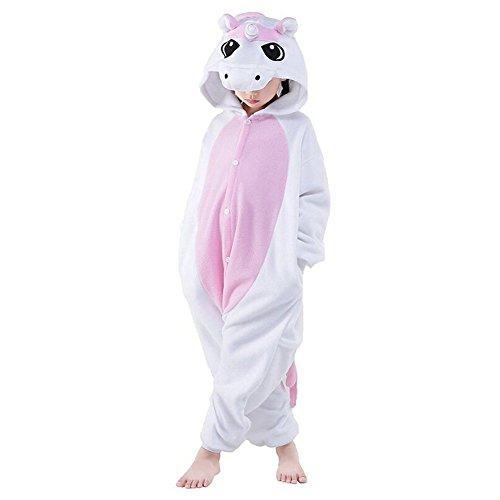 KiKa Monkey Kinder Einhorn-Karikatur-Flanell-Tierneuheit-Kostüme Cosplay Pyjamas (Größe 125: 135-144cm, Rosa-Flügel)