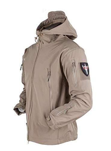 ANNY Men Jacket Lurker Shark Skin Soft Shell Waterproof Windproof (Khaki, XXL)