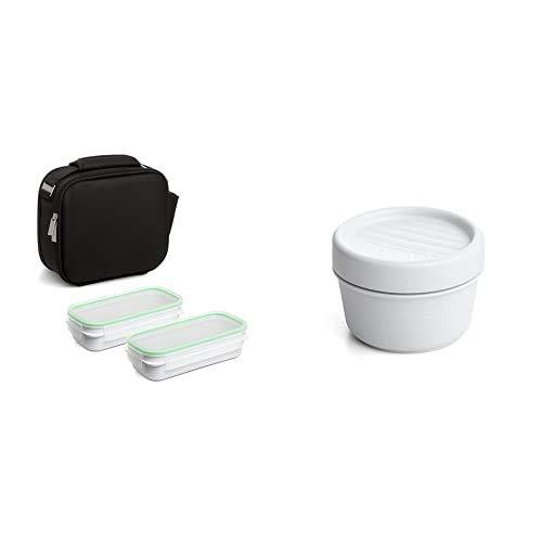 Tatay Urban Food Shell - Bolsa Térmica Porta Alimentos Con 2 Tapers Herméticos Incluidos + Twist Opak 1167811 Contenedor De Alimentos Hermético, 0,2 Litros, Blanco, 8.5 X 8.5 X 6 Cm