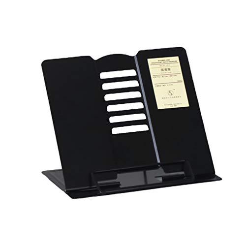 STOBOK Soporte de Libro con Bandeja de Página Clips de Papel Soporte de Libro de Cocina Escritorio de Lectura Plegable Ajustable Reposapiés Metal Multifuncional Negro