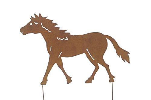 Unbekannt Rostoptik Pferd groß mit Kurzstäben 60x55cm Gartenstecker Tierfigur Deko
