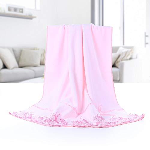 GLADMIN Microfibra Cepillado espesó Toallas de baño afiladas una Variedad de 70 * 140 Toallas de baño Suave y Absorbente (Color : Lace Powder Towel, Size : 70cm*140cm)