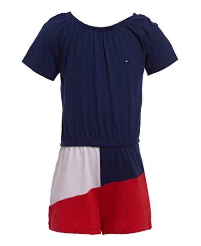 Tommy Hilfiger Big Girls' Romper, Colorblock Flag Blue, 6