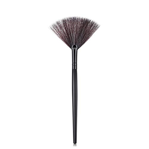 Pinceau de maquillage forme de ventilateur blush pinceau de maquillage grande base blush outil cosmétique doux (Noir)