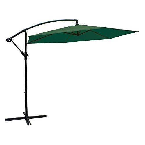 AKTIVE Garden 53886 Parasol excéntrico Banana, diámetro 270 cm, verde mástil aluminio