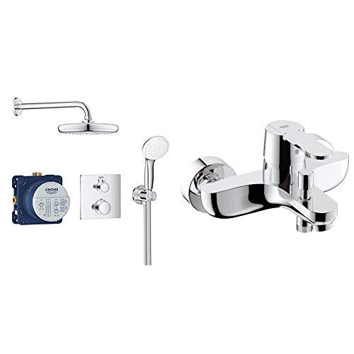 Grohe Bundle Grohtherm - Sistema de ducha 2 cabezales - con ducha mural 210 y set teleducha, Cromo, Válvulas rotativas, 210 mm (Ref.34729000) + Grohe GET grifo de baño/ducha Ref. 32887000