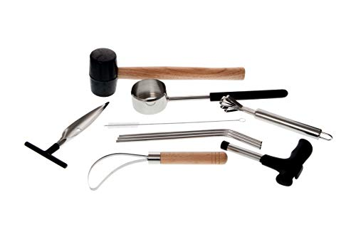 Draysvet Coconut Opener Tool Set Complete 10 Piece for Young Coconut Opening with Rubber Mallet