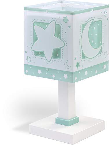 Dalber Moon Light Kinder Tischlampe Mond und Sterne MoonLight Grün, Kunststoff, 40 W