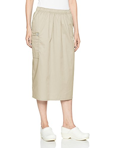 WonderWink Women's Wonderwork Pull-on Cargo Scrub Skirt, Khaki, Large