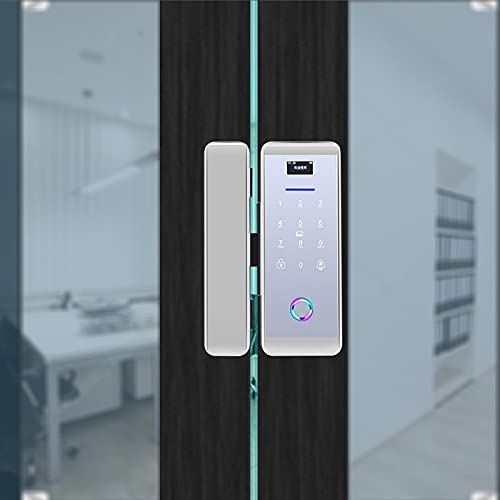 Cerradura de Puerta con Huella Digital, Cerradura de Puerta de Entrada sin Llave a batería, para Puerta de Vidrio Puerta Simple/Doble(Silver)