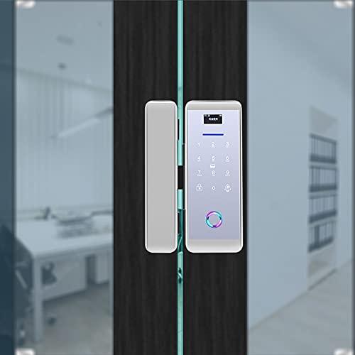 Pokerty9 Keyless Entry Door Lock, APP Control Fingerprint Door Lock, Battery Operated Fingerprint Password IC Card Unlocking for Glass Door Single/Double Door(Silver)