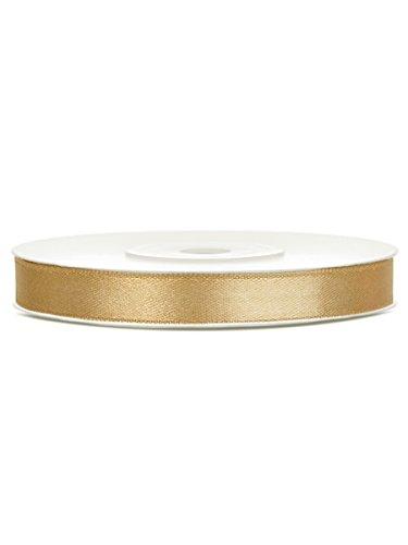 SATINBAND 25m x 6mm HOCHZEIT DEKOBAND Geschenkband Antennenband Schleifenband, Farbe:Gold