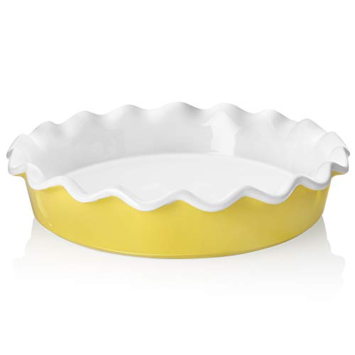 Teocera Porcelain Pie Pan for Baking, Pie Dish, Round Pie Plate with Ruffled Edge - 10.5 Inches for Apple Pie, Pot Pies - Set of 1, Yellow