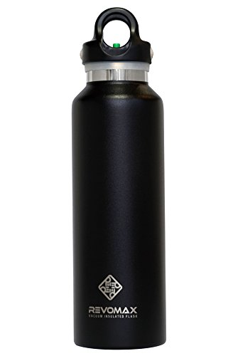 RevoMax Twist Free Insulated Stainless Steel Water Bottle with Standard Mouth, 12 oz, Onyx Black