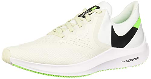 Nike Men's Air Zoom Winflo 6 Running Shoes (Platinum Tint/Black/White/Electric Green, 10.5)