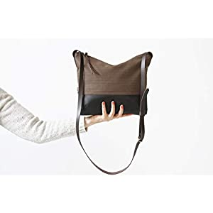 Crossbody Tasche Stoff und Leder braun