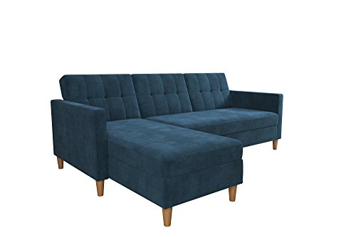 DHP Hartford Storage Sectional Futon with Interchangeable Chaise, Blue Chenille