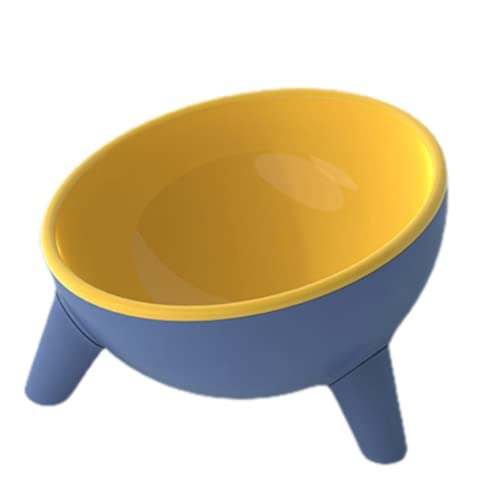 Non-Slip Cat Dog Bowl 15 Degrees Tilted with Stand Safeguard Neck Puppy Cats Feeder Crashworthiness Dish for Cat Pet Bowls Cats Feeder (Yellow)