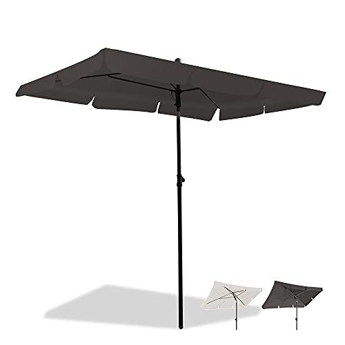 Magiea Sonnenschirm Balkon, 200x125cm Balkonschirm Strandschirm, Gartenschirm Marktschirm, Terrassenschirm mit Drehstange & Schutzhülle, Anthrazit rechteckig UV50+ Schutz Sonnenschutzschirm