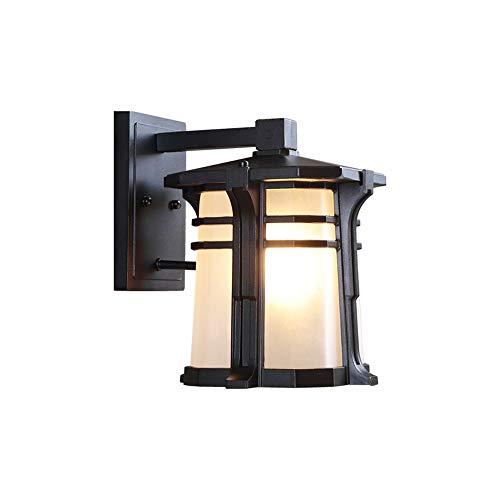 Lámparas de pared de calidad Muro de la casa de campo al aire libre escono impermeable linterna anti-óxido negro acabado mate moldeado porche luz antigua e27 accesorio con cristal congelado sombra ext