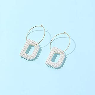 MONGHHF Earrings Big Circle Pearl Letters A/B/D/O/Q/R Earrings For Women Girls White Fashion Dangle Earrings For Party